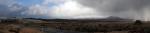 Wetter in Neuseeland: ganz links liegt Schnee, dazwischen gibts blauen Himmel und rechts zieht eine Hagelfront heran