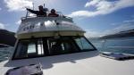 Bootsfahrt in der Bucht; durchgeführt wird die von einer Familie, die bereits in achter Generation in Akaroa lebt.